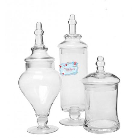 Set 3 jarrones cristal alquiler mesas dulces valencia - Decoracion de jarrones de cristal ...